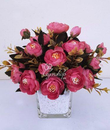 Hoa lụa, hoa giả Uyên shop, Hoa Trà hồng