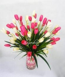 Hoa lụa, hoa giả Uyên shop, Hoa tulip trắng hồng