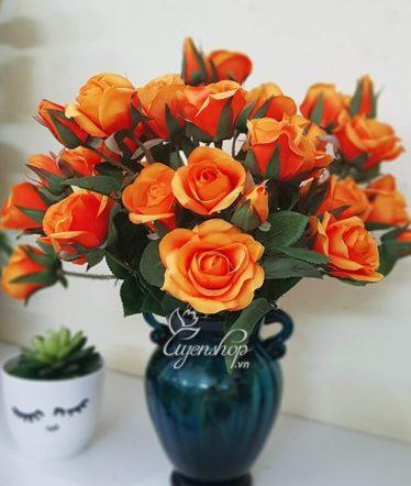 Hoa lụa, hoa giả Uyên shop, Rực rỡ với hồng cam