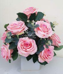 Hoa lụa, hoa giả Uyên shop, Nhẹ nhàng với sắc hồng