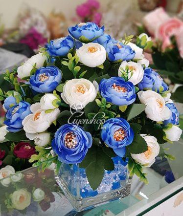 Hoa lụa, hoa giả Uyên shop, Hoa Trà Xanh Dương