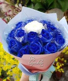 Hoa lụa, hoa giả Uyên shop, Bó hoa hồng xanh