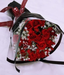 Hoa lụa, hoa giả Uyên shop, Bó hoa hồng đỏ