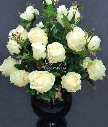 Hoa lụa, hoa giả Uyên shop, Bình hoa Hồng Kem
