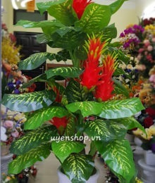 Hoa lụa, hoa giả Uyên shop, Cây đỏ 5 đầu may mắn