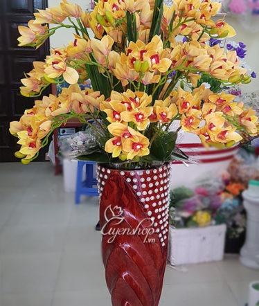 Hoa lụa, hoa giả Uyên shop, Bình Địa Lan cao cấp