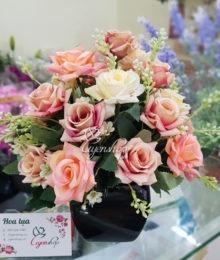 Hoa lụa, hoa giả Uyên shop, Hoa hồng để bàn xinh