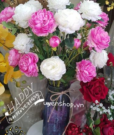 Hoa lụa, hoa giả Uyên shop, Bình hoa Trà trắng hồng