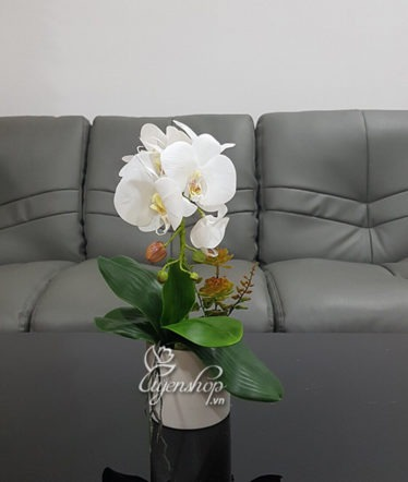 Hoa lụa, hoa giả Uyên shop, Bình Lan trắng xinh