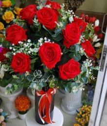 Hoa lụa, hoa giả Uyên shop, Bình hoa Hồng Nhung đỏ