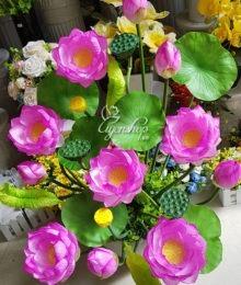 Hoa lụa, hoa giả Uyên shop, Bình hoa Sen đẹp
