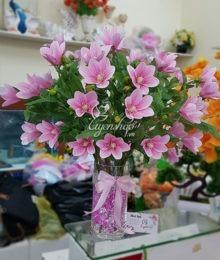 Hoa lụa, hoa giả Uyên shop, Bình hoa Mộc Lan hồng