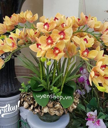 Hoa lụa, hoa giả Uyên shop, Địa Lan vàng sang trọng
