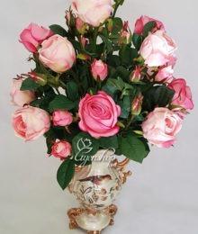 Hoa lụa, hoa giả Uyên shop, Bình hoa Hồng cao cấp