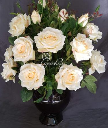 Hoa lụa, hoa giả Uyên shop, Hoa hồng màu kem