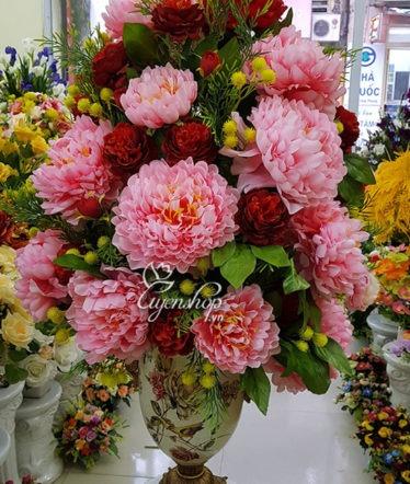 Hoa lụa, hoa giả Uyên shop, Bình hoa Phú Quý