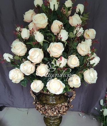 Hoa lụa, hoa giả Uyên shop, Bình hoa hồng lớn
