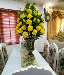 Hoa lụa, hoa giả Uyên shop, Bình hồng vàng sang trọng