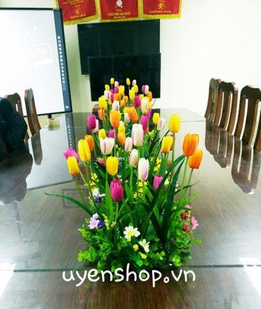 Hoa lụa, hoa giả Uyên shop, Hoa bàn họp tulip