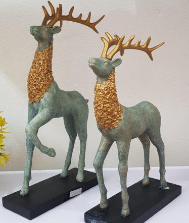 Hoa lụa, hoa giả Uyên shop, Bộ Trang Trí-  Bộ đôi hươu màu ngọc bích