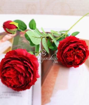 Hoa lụa, hoa giả Uyên shop, Cành hoa Hồng Trà