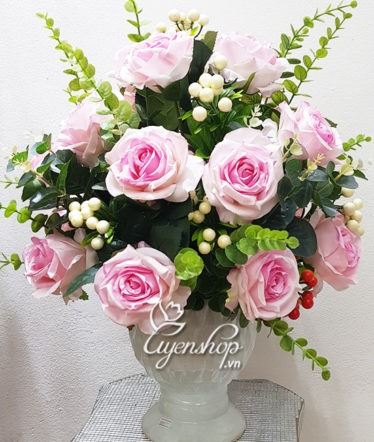 Hoa lụa, hoa giả Uyên shop, Hoa lụa-Bình hoa hồng