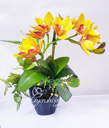 Hoa lụa, hoa giả Uyên shop, Hoa lụa – Bình địa lan