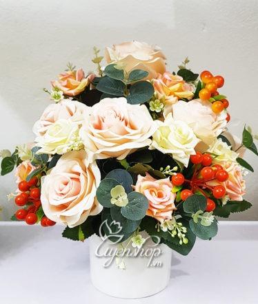 Hoa lụa, hoa giả Uyên shop, Hoa Lụa – Bình hồng để bàn