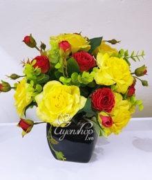 Hoa lụa, hoa giả Uyên shop, Hoa Lụa- Hoa Hồng Vàng để bàn