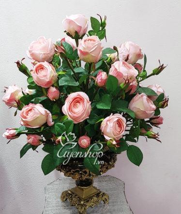 Hoa lụa, hoa giả Uyên shop, Hoa Lụa – Bình Hồng Cao Cấp