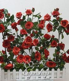 Hoa lụa, hoa giả Uyên shop, Hàng rào hoa hồng đỏ