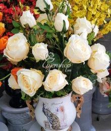 Hoa lụa, hoa giả Uyên shop, Hoa Lụa – Chim công may mắn