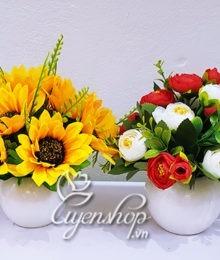 Hoa lụa, hoa giả Uyên shop, Combo 2 lọ