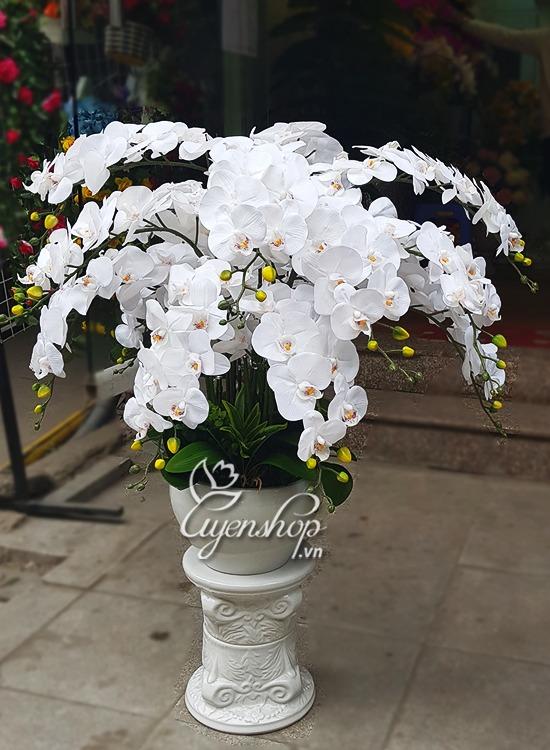 Hoa lụa, hoa giả Uyên shop, Bình Lan trắng tinh khiết