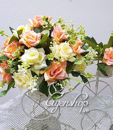 Hoa lụa, hoa giả Uyên shop, Xe đạp hoa hồng