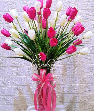 Hoa lụa, hoa giả Uyên shop, Bình hoa Tulip xinh
