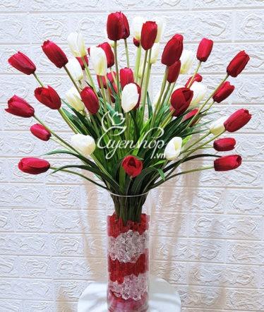 Hoa lụa, hoa giả Uyên shop, Rực rỡ cùng Tulip đỏ