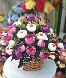 Hoa lụa, hoa giả Uyên shop, Giỏ hoa lụa xinh
