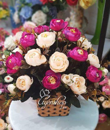 Hoa lụa, hoa giả Uyên shop, Giỏ hoa trà