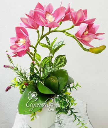 Hoa lụa, hoa giả Uyên shop, Bình Địa Lan hồng