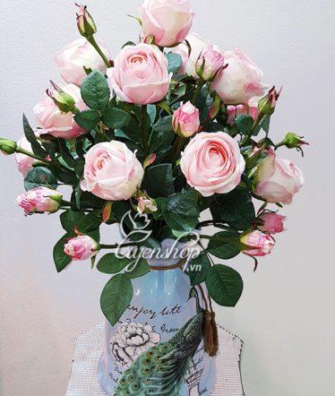 Hoa lụa, hoa giả Uyên shop, Bình hồng cao cấp Chim Công