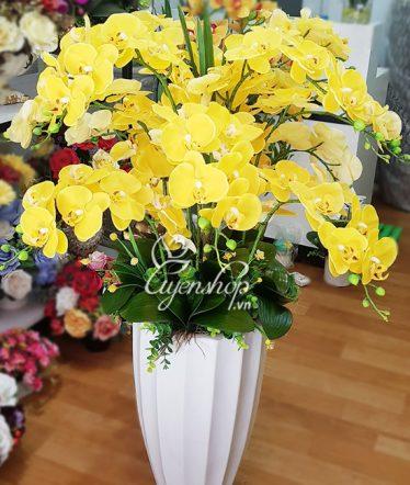 Hoa lụa, hoa giả Uyên shop, Lan Vàng Rực Rỡ
