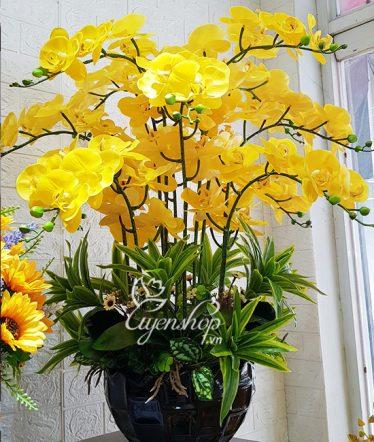 Hoa lụa, hoa giả Uyên shop, Chậu Lan vàng sang trọng