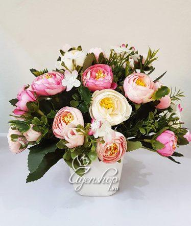 Hoa lụa, hoa giả Uyên shop, Lọ hoa nhỏ xinh