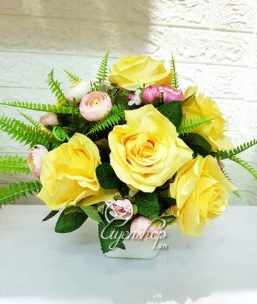Hoa lụa, hoa giả Uyên shop, Hồng vàng xinh tươi