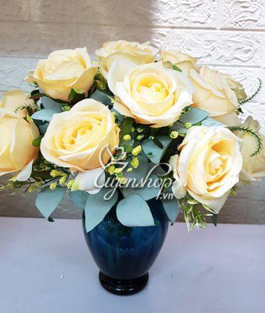 Hoa lụa, hoa giả Uyên shop, Bình Hồng Kem sang trọng