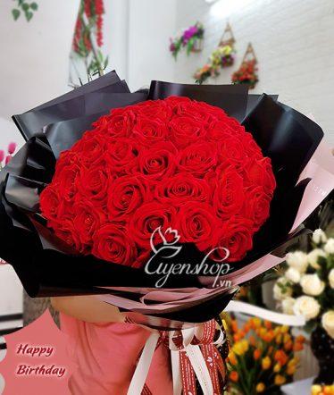 Hoa lụa, hoa giả Uyên shop, Bó Hồng Nhung Đại