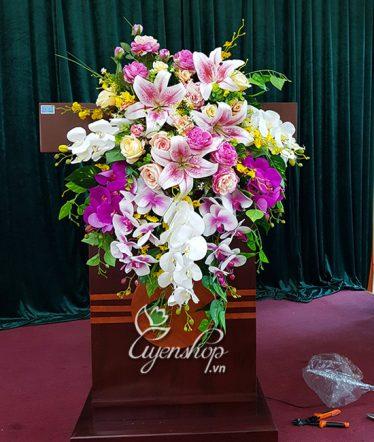 Hoa lụa, hoa giả Uyên shop, Hoa để Bục Phát Biểu
