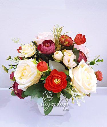 Hoa lụa, hoa giả Uyên shop, Vẻ đẹp Hoa hồng