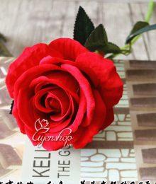 Hoa lụa, hoa giả Uyên shop, Cành hồng nhung